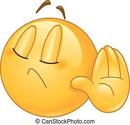 Deny emoticon - Emoticon showing deny or refuse hand gesture