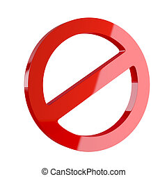 3d render of red deny symbol isolated on white background