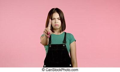denying, студент, женщина, rejecting, милый, красивая, знак, задний план, или, рука, disagree, нет, disapproving, портрет, розовый, gesture., девушка