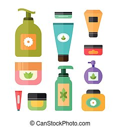 Cream, shampoo and deodorant containers, beauty and skincare