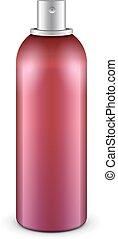 deodorant., eps10, gabarit, bouteille, métal, haut, graffiti, pulvérisation, vecteur, aérosol, peinture rouge, prêt, 3d, can:, ton, railler, design.