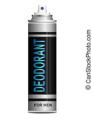 Illustration depicting a single deodorant spray can arranged over white.