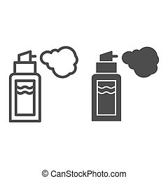 Deodorant line and glyph icon. Spray can vector illustration isolated on white. Aerosol bottle outline style design, designed for web and app. Eps 10.