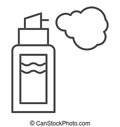 Deodorant thin line icon. Spray can vector illustration isolated on white. Aerosol bottle outline style design, designed for web and app. Eps 10.
