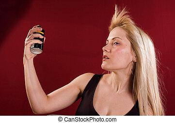 Deodorant - Woman's portrait with deodorant spray on her ...