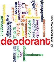 deodorante, multilanguage, wordcloud, fondo, concetto