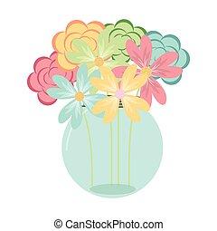 deoration, fleur, pot, maçon