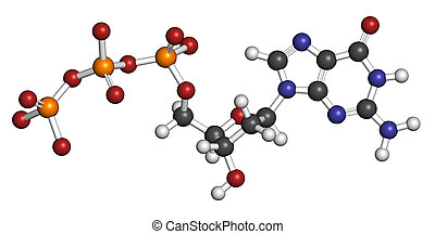 Deoxyguanosine triphosphate (dGTP) nucleotide molecule. DNA...