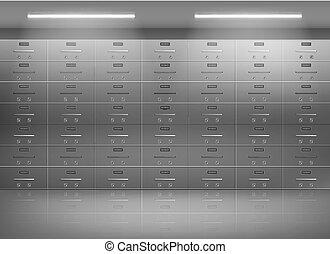 depósito, vector, banco, cajas, realista, seguridad