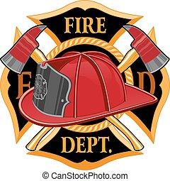departamento de bombeiros, símbolo, crucifixos