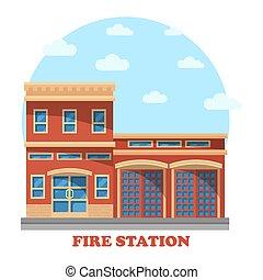 departamento de bomberos, bomberos, estación, o
