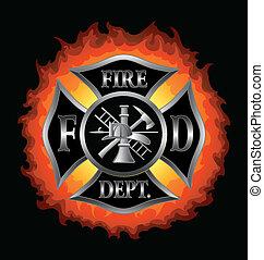 departamento de bomberos, cruz maltesa, con