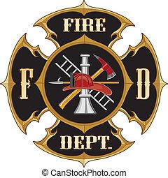departamento de bomberos, cruz maltesa, vinta
