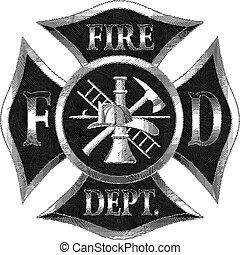 departamento de bomberos, cruz, plata, engaving