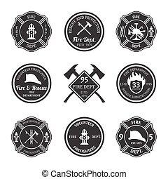 departamento de bomberos, emblemas, negro