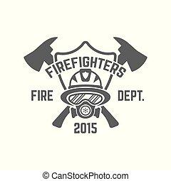 departamento de bomberos, monocromo, vector, emblema