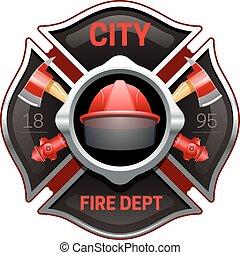 departamento, imagem, fogo, realístico, ilustração, emblema