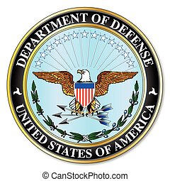 Department of defense logo and shield over a white background