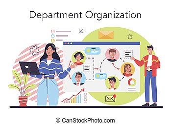 Department organization concept. Business teamwork. Idea of partnership