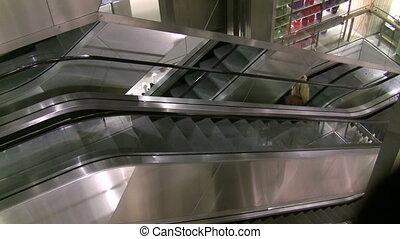 Department Store Escalator - Metallic department store...