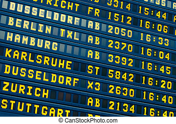 departure - arrival information flight board at the airport