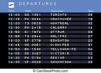 Departure board - destination airports. Vector illustration - the letters and numbers for easy editing your own messages are embedded outside the viewing area. Canada destinations: Toronto, Vancouver, Montreal, Ottawa, Calgary, Halifax, Edmonton, Winnipeg, Yellowknife, Victoria, Regina and Saskatoon...