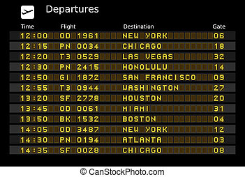 Departure board - destination airports. Vector illustration...