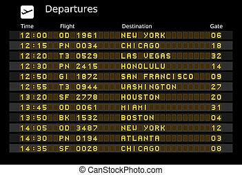 Departure board - destination airports. Vector illustration...