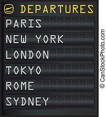 departure board - airport departure board