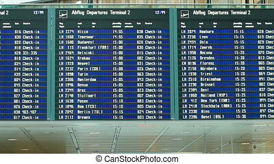 Departure board at the international airport