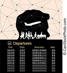 Departure boarding with abstract background