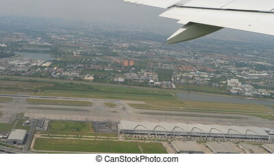 Departure from Bangkok airport - Aerial view airport of...
