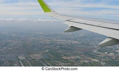 Departure from Bangkok airport - Aerial view Bangkok...