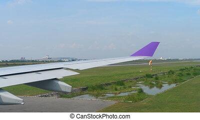 Departure from Suvarnabhumi airport, Bangkok - Airplane...