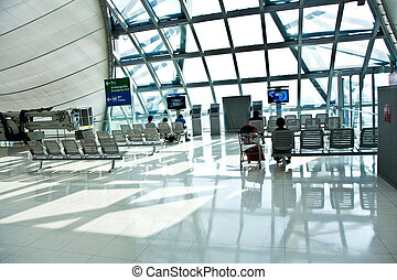 departure Gate and hall in the new Airport Suvarnabhumi in...