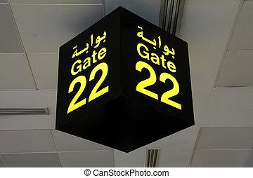 Departure Gate - Doha International Airport in Qatar -...