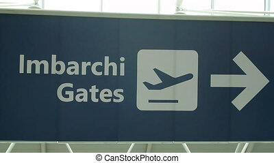 Departure Gates Sign - Sign indicating direction to...