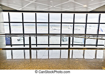 departure hall with window