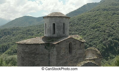 Departure on a drone from the ancient dilapidated Christian...