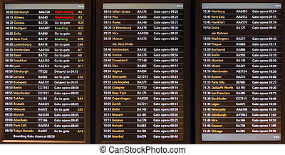 Departure on a screen - Flight announcement shows time of...