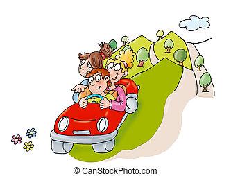 departure, friends in the car