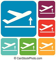 Departure take off plane icon simple flat vector...