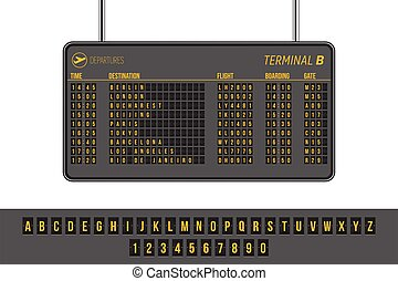 Departures airport info panel vector illustration