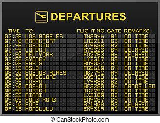 Departures Board - International Airport Departures Board