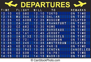 departures board with flights at the airport