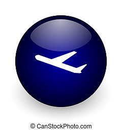 Deparures blue glossy ball web icon on white background. Round 3d render button.