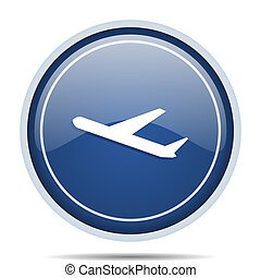 Deparures blue round web icon. Circle isolated internet button for webdesign and smartphone applications.