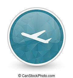 Deparures brillant crystal design round blue web icon.