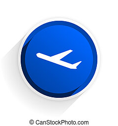 deparures flat icon with shadow on white background, blue modern design web element