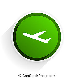deparures flat icon with shadow on white background, green modern design web element
